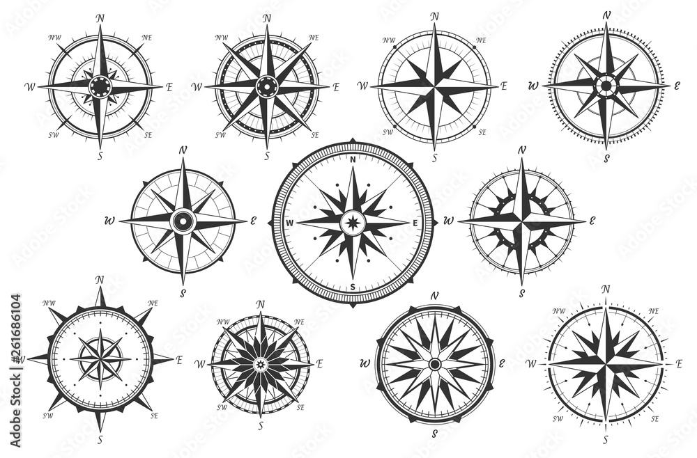 Fototapeta Wind rose. Map directions vintage compass. Ancient marine wind measure vector icons isolated. Isolated old sea or ocean navigation compass for ocean or marine retro cartography, boat or ship
