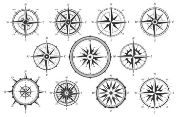 Naklejka Marynistyczny Wind rose. Map directions vintage compass. Ancient marine wind measure vector icons isolated. Isolated old sea or ocean navigation compass for ocean or marine retro cartography, boat or ship