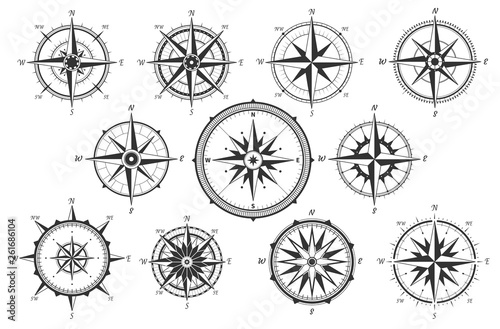 Fototapeta Wind rose. Map directions vintage compass. Ancient marine wind measure vector icons isolated. Isolated old sea or ocean navigation compass for ocean or marine retro cartography, boat or ship obraz