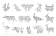 White Origami Animals. Geometr...