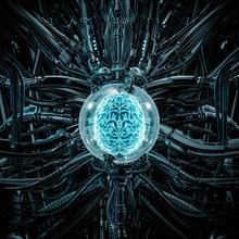 The Brain Pod / 3D Illustration Of Science Fiction Scene Showing Glowing Human Brain Inside Complex Futuristic Glass Globe Computer Machinery