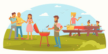 Friendly Family On Picnic Flat Color Illustration