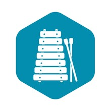 Xylophone And Sticks Icon. Simple Illustration Of Xylophone And Sticks Vector Icon For Web