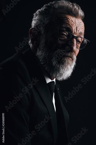 Foto op Aluminium Aap Portrait of handsome elderly well-groomed CEO posing in black formal suit on dark background