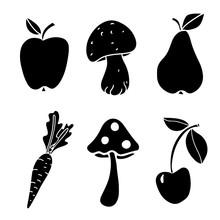 Fruits, Vegetables, Mushrooms