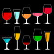wineglasses with alcohol on dark background, collection of isolated icons. vector illustration.