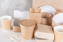Eco-friendly Disposable Utensils Made Of Bamboo Wood And Paper On White Marble Background