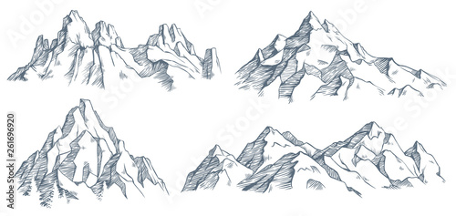 Photo Mountains peak engraving