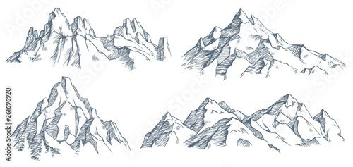 Mountains peak engraving Fototapeta
