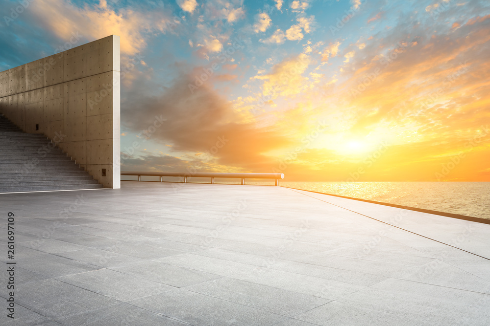 Fototapety, obrazy: Empty square floor and sky clouds landscape