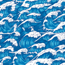 Storm Waves Seamless Pattern. ...