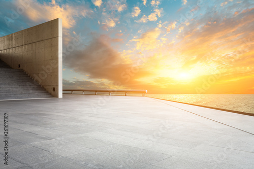 Empty square floor and sky clouds landscape