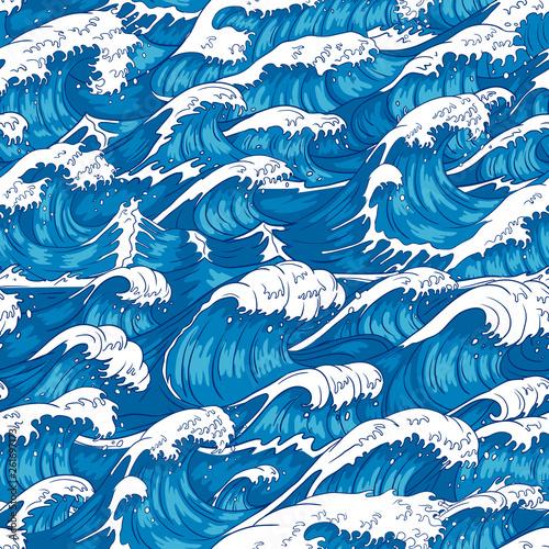 Storm Waves Seamless Pattern Raging Ocean Water Sea Wave