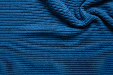 Prussian Blue Knitted Twisted Fabric, Texture Background