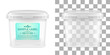 Vector transparent square empty plastic bucket with label. Front view.