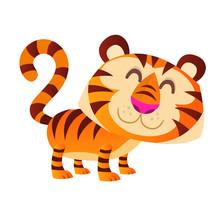 Funny Cartoon Tiger Vector Illustration