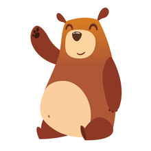 Happy Cartoon Bear. Vector Ill...
