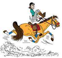 Cartoon Rider Riding A Horse ....