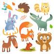 Cartoon forest animals big set. Flat vector illustrations design. Squirrel, hedgehog, hamster, wolf, fox, toucan bird, bear, deer