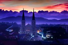 Beautiful Sunrise At Catholic Church In Chantaburi, Thailand
