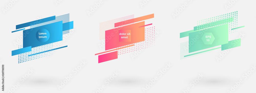 Fototapeta Set of abstract modern graphic badges. Trendy minimal design as template for cover, presentation, banner.
