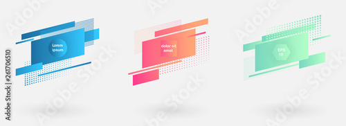 Obraz Set of abstract modern graphic badges. Trendy minimal design as template for cover, presentation, banner. - fototapety do salonu