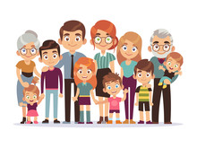 Big Family Portrait. Happy People Character Lifestyle Mother Father Children Grandparents Teenagers Kids Dog, Vector Illustration