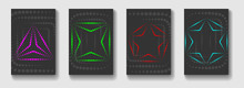 Abstract Gaming Cards Background In Gray With Halftone Shapes. Triangle, Square, Pentagon, Hexagon In Bright Colors.