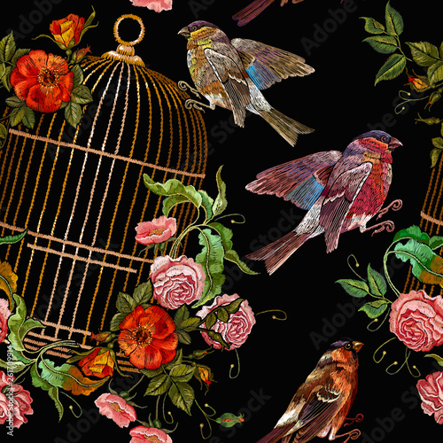 Embroidery birds and birds golden cage and flowers seamless pattern Wallpaper Mural
