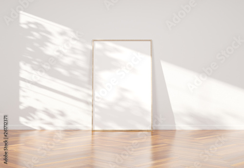 Stampa su Tela  Wooden frame leaning in bright white interior with wooden floor mockup 3D render