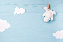 Baby Boy Background With White...