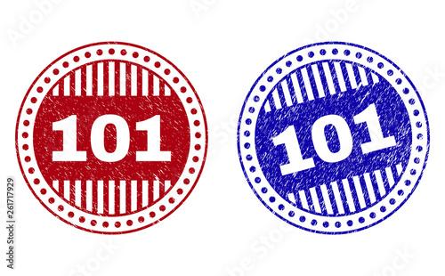 фотография  Grunge 101 round stamp seals isolated on a white background