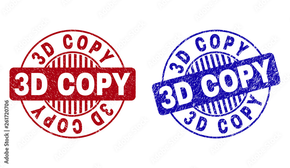 Fototapety, obrazy: Grunge 3D COPY round stamp seals isolated on a white background. Round seals with grunge texture in red and blue colors. Vector rubber imprint of 3D COPY caption inside circle form with stripes.