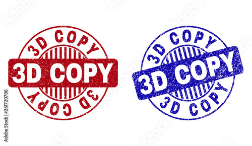 Grunge 3D COPY round stamp seals isolated on a white background. Round seals with grunge texture in red and blue colors. Vector rubber imprint of 3D COPY caption inside circle form with stripes.