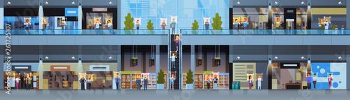 Fotografía  retail store visitors identification facial recognition concept modern shopping