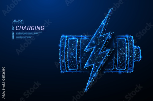 Foto Abstract polygonal light design of battery with lightning symbol.
