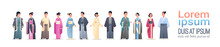 Set Asian Men Women Wearing Traditional Clothes People In National Ancient Costumes Standing Pose Chinese Or Japanese Male Female Cartoon Characters Full Length Flat Horizontal Copy Space
