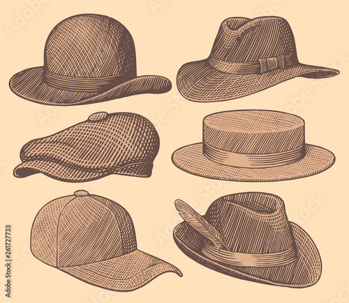Obraz Hats. Design set. Hand drawn engraving. Editable vector vintage illustration. Isolated on light background. 8 EPS - fototapety do salonu