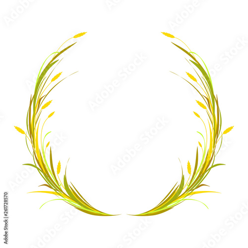 Fotografie, Obraz  Round wreath or crown with ears of wheat, barley or rye and blade of grass