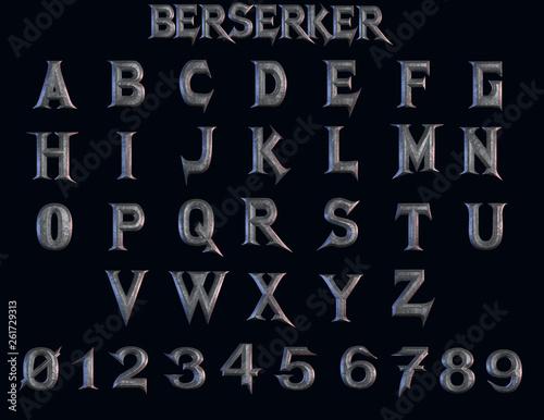Berserker fantasy alphabet - 3D Illustration Wallpaper Mural