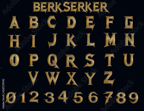 Papel de parede Berserker fantasy alphabet - 3D Illustration