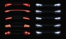 Realistic Car Headlights. Fron...