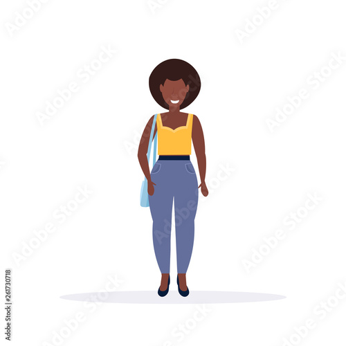 c28133915f7 happy casual woman standing pose smiling african american lady ...