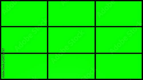 Fotografia  4k 9 Parts green screen grid with black frames