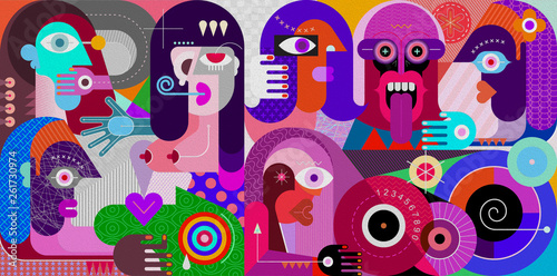 Aluminium Prints Abstract Art Large Group of People