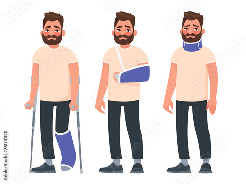 Set of sad character man with injuries Fototapet