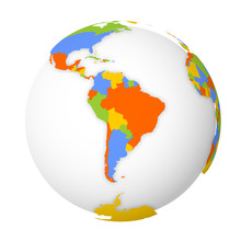 Blank Political Map Of South America. Earth Globe With Colored Map. Vector Illustration