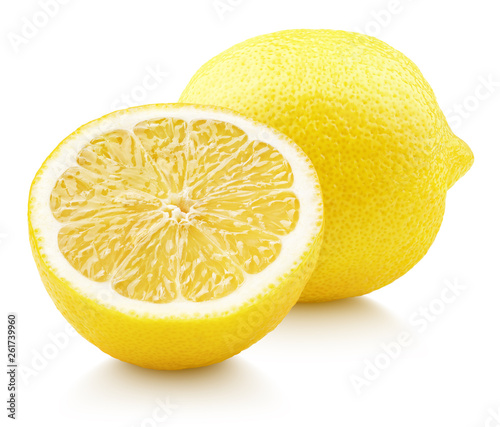 Ripe full yellow lemon citrus fruit with lemon half isolated on white background with clipping path Poster Mural XXL