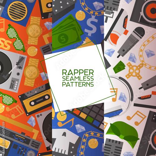 Rap music vector seamless pattern dj playing disco on turntable