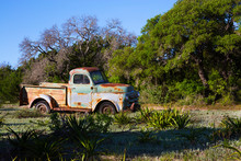 Rusty Old Pick Up Truck In An Old Field In Hill Country, Texas